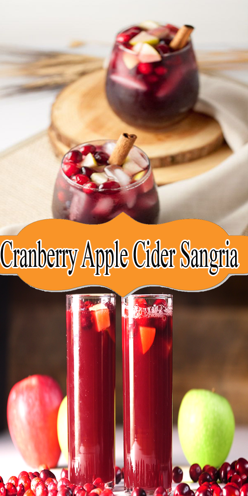 Cranberry Apple Cider Sangria Recipe #applecidersangriarecipe