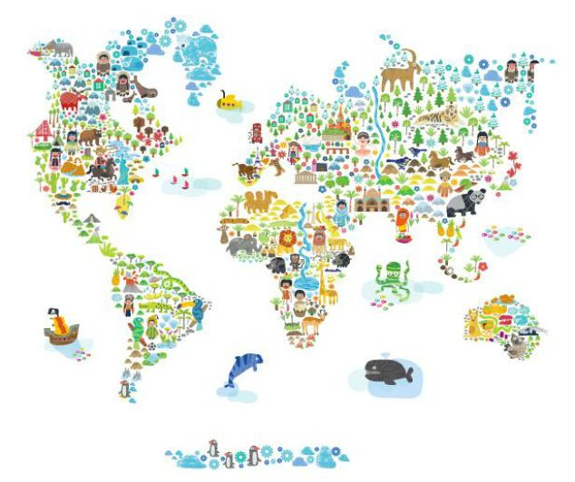 World Map Kids Wall Decal