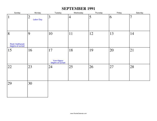 September 1991 Calendar My Son Calendar Calendar For April