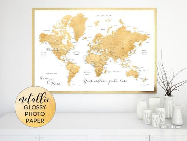 Custom quote world map print faux gold foil effect world map with custom quote world map print faux gold foil effect world map with cities printed on metallic glossy photo paper rossie personalized world map poster gumiabroncs Images