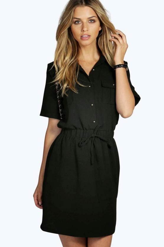 Daisy Tie Waist Shirt Skater Dress  1df92642e