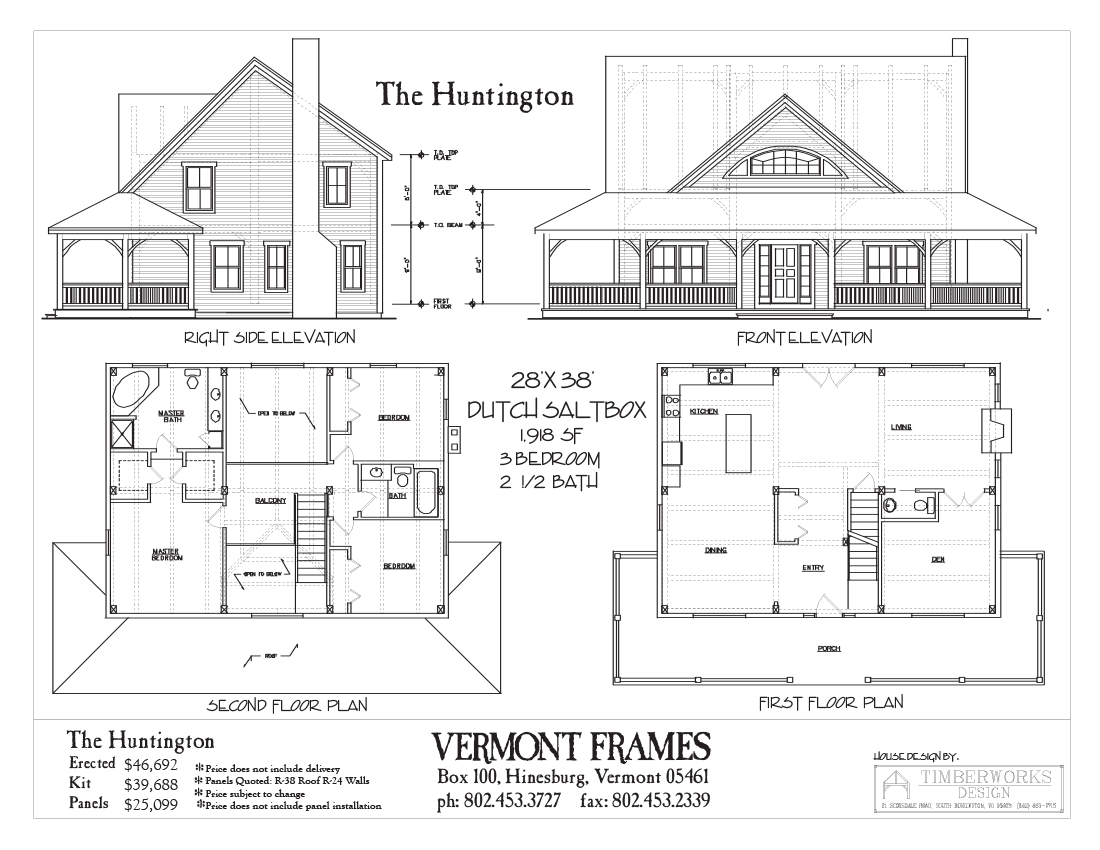 Huntington Dutch Saltbox Vermont Frames Floor Plans Timber House House Plans