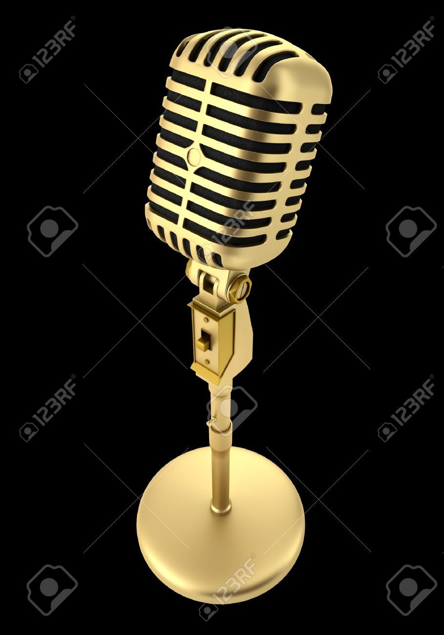Golden Vintage Microphone Isolated On Black Background Vintage Microphone Black Backgrounds Microphone