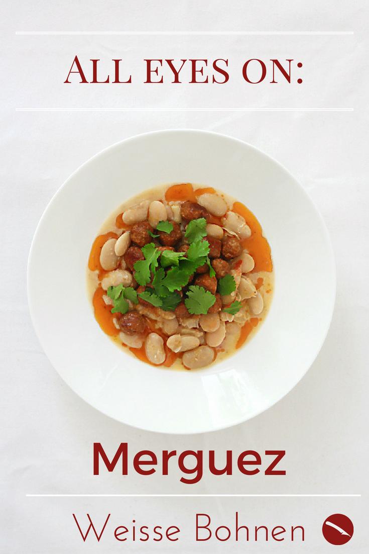 Merguez (Lammbratwürstchen) auf weißen Bohnen mit Tomaten-Concassée und frischem Koriander