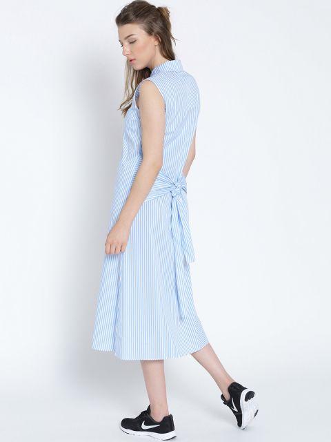 26b8da0e Buy MANGO Women White & Blue Striped Midi A Line Dress - - Apparel for Women  from MANGO at Rs. 4942