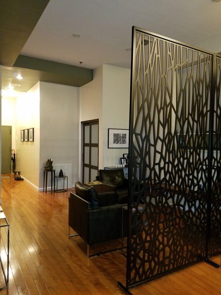 Freestanding Room Divider Screen Single Layer Cnc Panel Black
