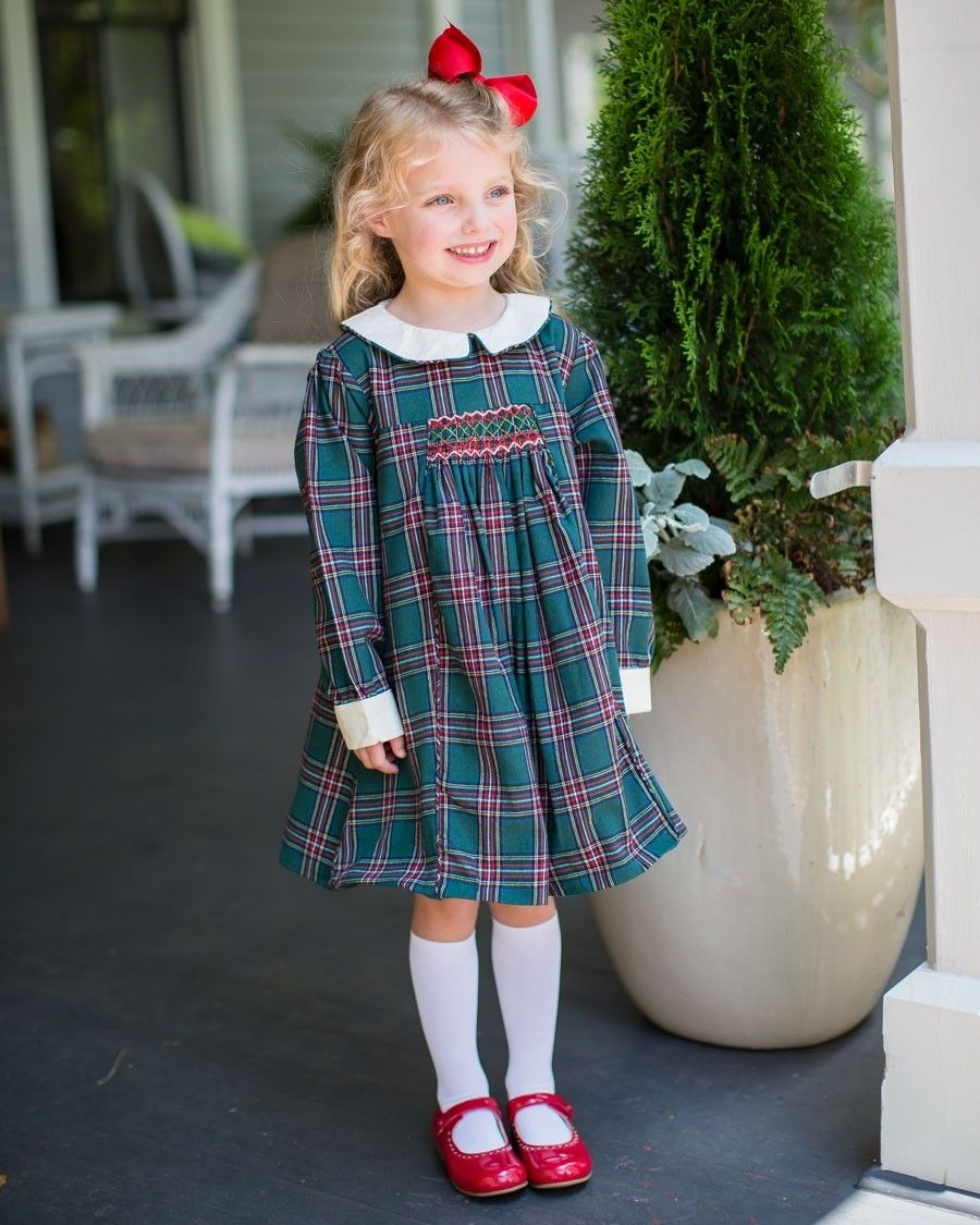 Green Tartan Plaid Smocked Dress Dark Green Plaid Dress With Smocking On Chest Ivory Cordu In 2021 Girly Girl Outfits Cute Little Girl Dresses Girls Fashion Clothes [ 1125 x 900 Pixel ]