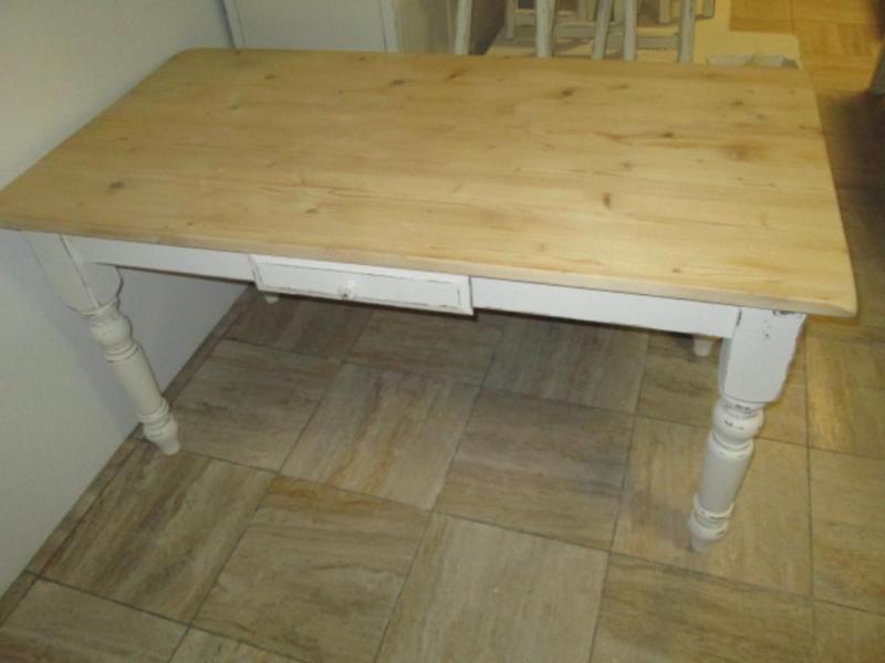Shabby Chic Tisch mit SchubladeGrösse 150cm x 78cm höhe 77cm,Shabby Chic Tisch mit hellen holz ...