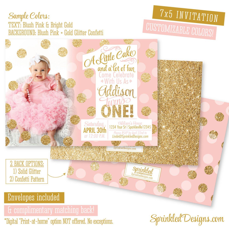 blush pink gold glitter first birthday girl invitation photo card