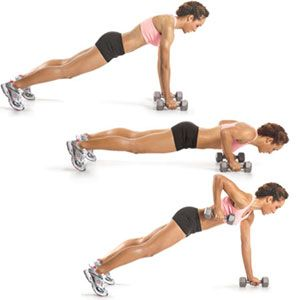 Pushup plank with row... GREAT core exercise... LOVE IT!!
