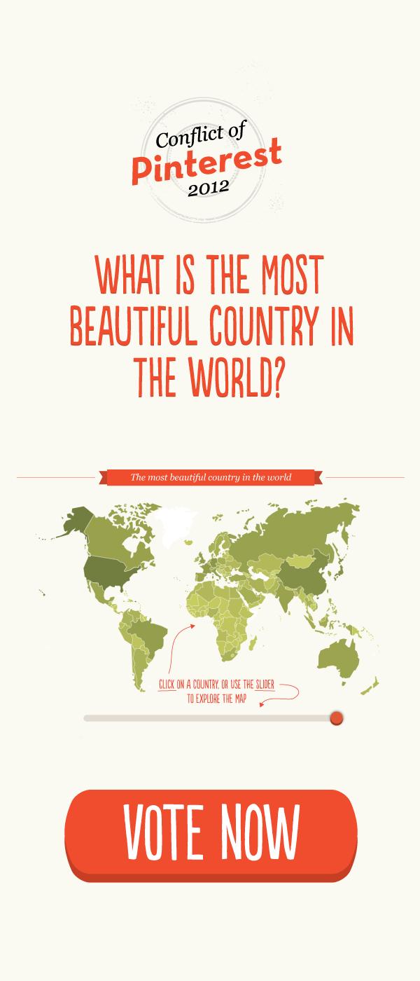 Qual é o país mais bonito do mundo? O Brasil está em 20º. Ajude votando! Veja como clicando na imagem.