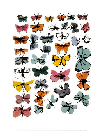 butterflies by andy warhol. The blue-ish one, third from the bottom on the far right is what I want as a tattoo...someday...