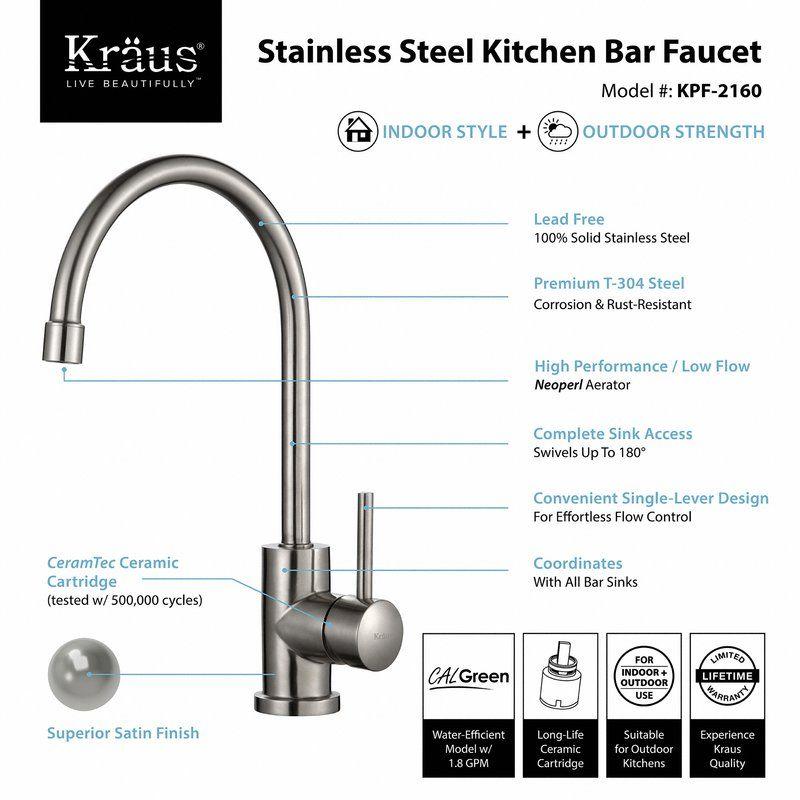 Single Handle Kitchen Faucet | Bar faucets, Kitchen faucets and Faucet
