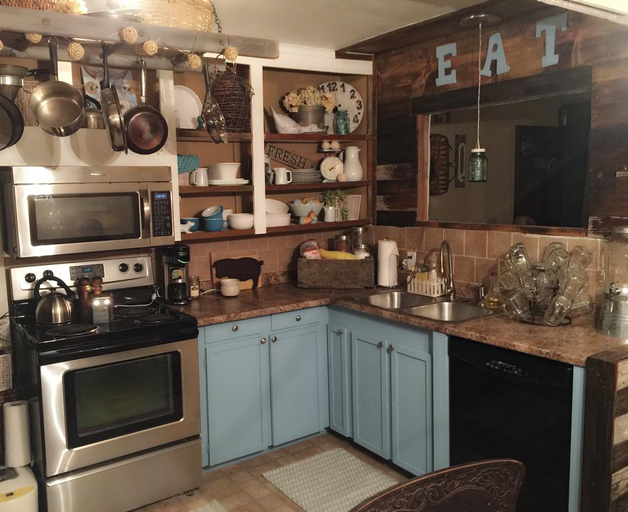 Blue 2 toned kitchen Diy ideas   Kitchen, Farmhouse ...