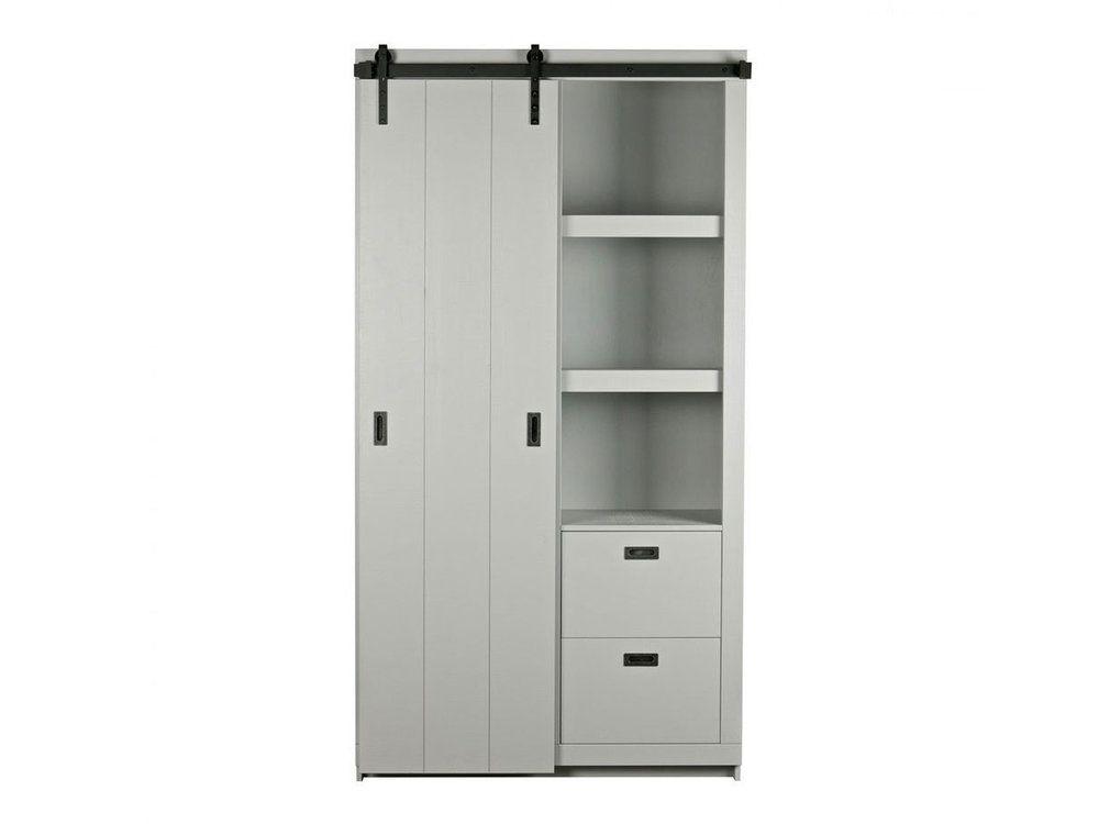 Armoire design bois porte coulissante Barn - Couleur - Gris béton - porte d armoire coulissante