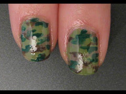 Camouflage Print Nails - Nail Art Tutorial