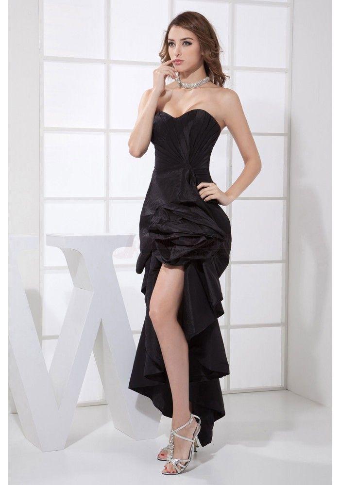 c2bcfb01b97 Sheath Strapless Short Front Long Back Black Taffeta Sexy Homecoming Dresses  (ED0072)