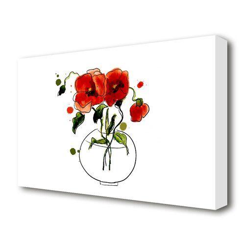 East Urban Home Leinwandbild Mohnblumen In Vase Flower Canvas Canvas Prints Painting Prints