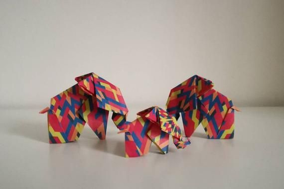 Photo of Handmade origami elephant family (kaleidoscope pattern)