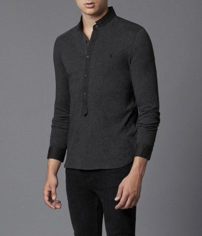 Saints Long Sleeved Henley, Men, polos, AllSaints Spitalfields