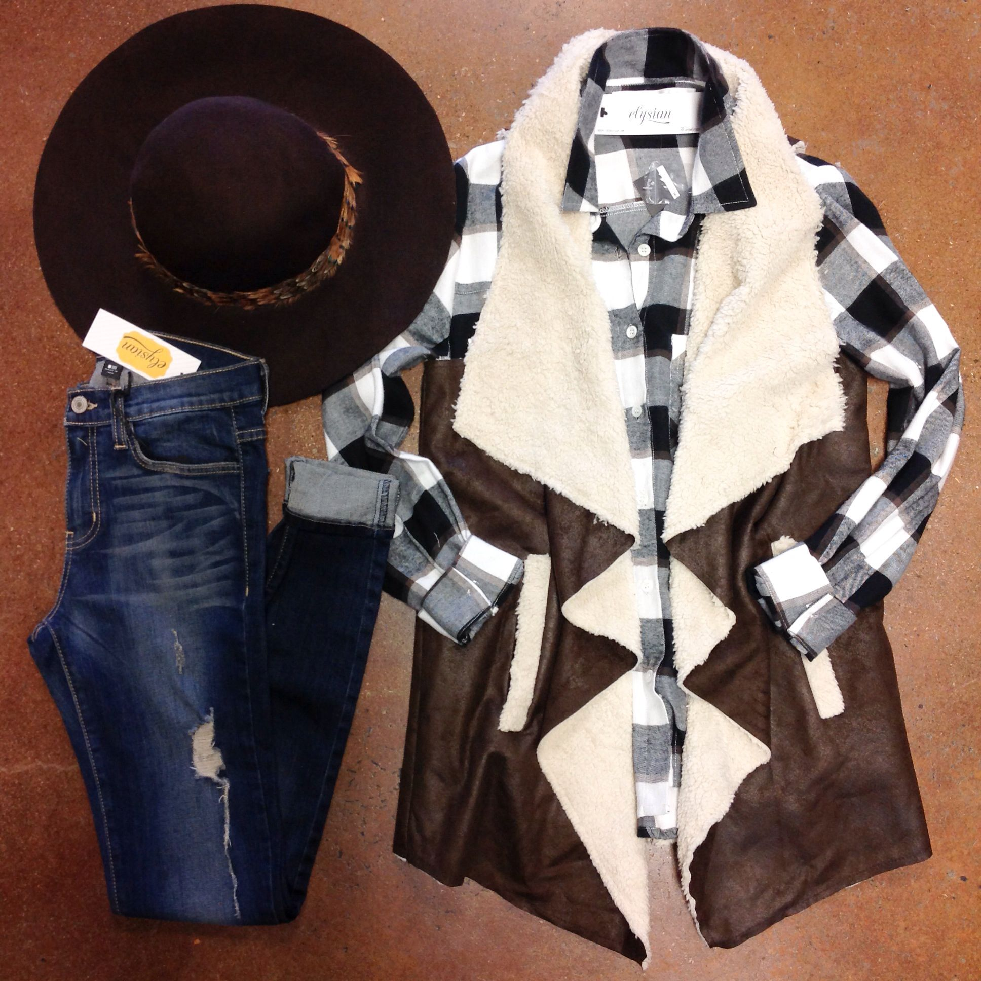 Layered In Plaid  Wool Feathered Floppy Hat $42. Black Plaid Flannel [last one, size S] $36. [in-store] Vested In Utah $48. Vintage Washed Skinny Jean $72. [online & in-store]  #layered #plaid #vest #fauxfur #floppyhat #fallstyle