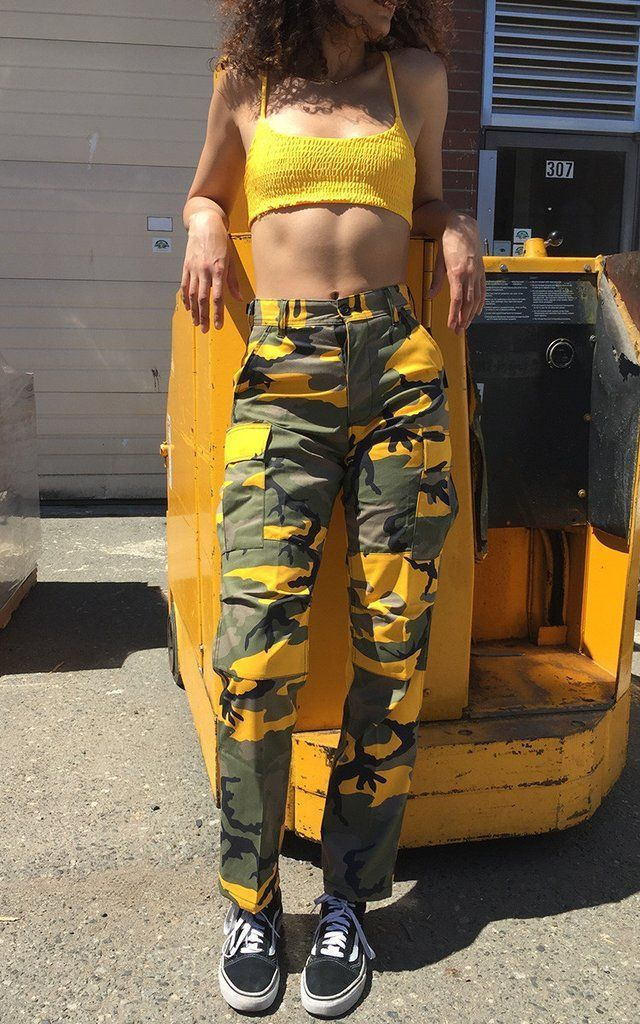 7c91160c6e Unisex One-Tone Camouflage Pants Features  Adjustable drawstrings on the  bottom of pants colors  yellow