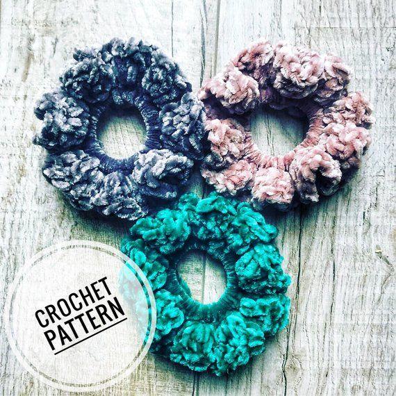 PATTERN - The Cyndi Scrunchie - DIGITAL DOWNLOAD, Velvet Crochet Scrunchie Pattern #crochetscrunchies