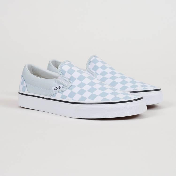 Product shot  Vans Classic Slip-On Baby Blue Checkerboard Shoes 597082795