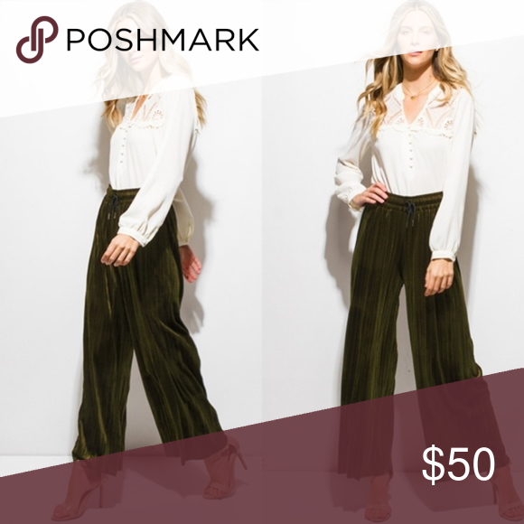 Olive Velvet Palazzo Pants Pleated Olive Green Wide Leg