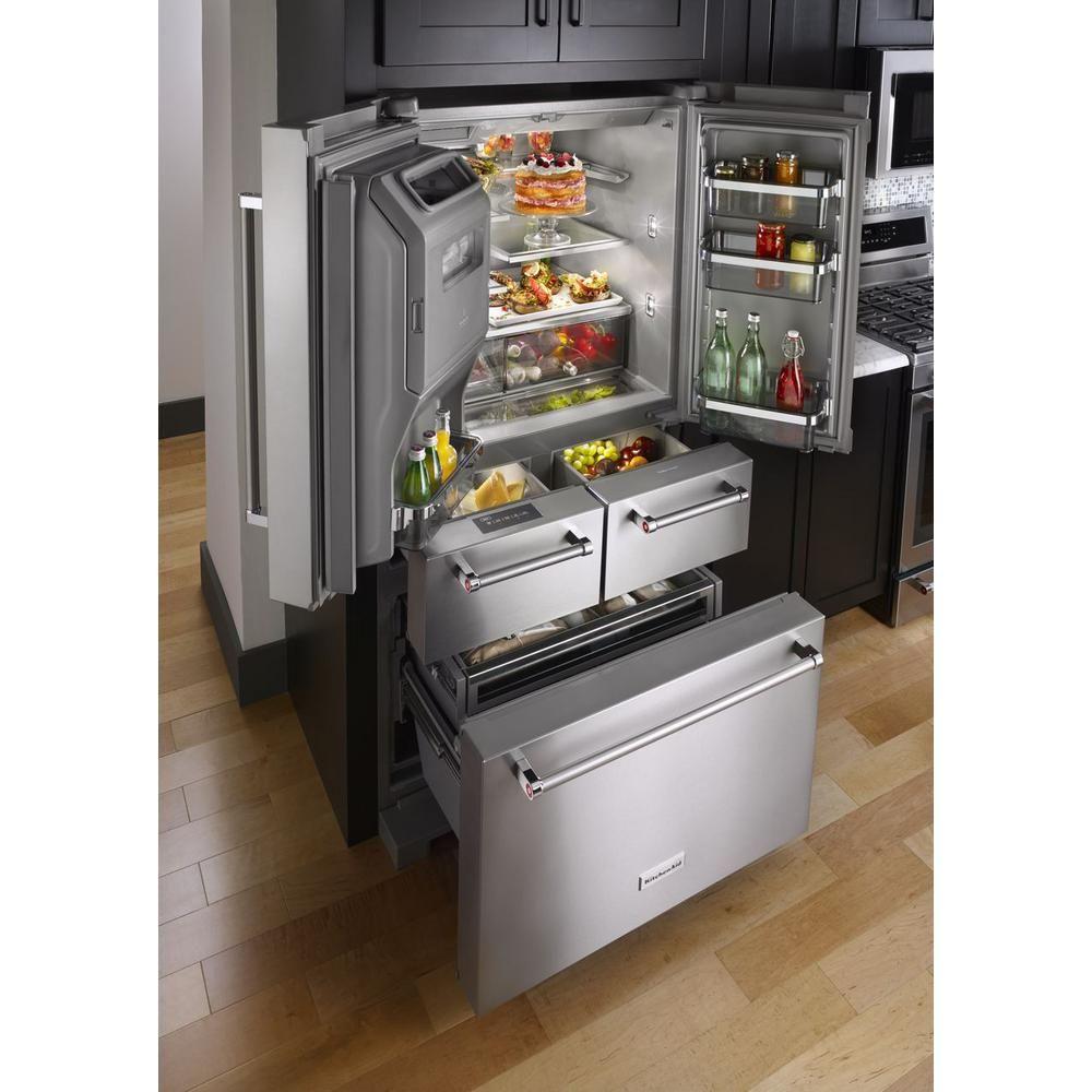 Kitchenaid 25 8 Cu Ft French Door Refrigerator In Stainless Steel With Platinum Interior Krmf706ess The Home Depot Outdoor Kitchen Appliances Kitchen Renovation Kitchen Remodel