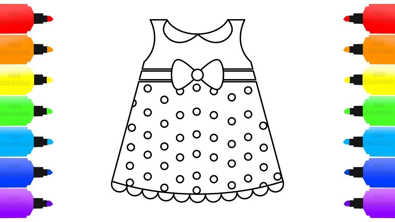 Polka Dot Dress Coloring For Kids Learn The Colors How To Draw Dress Coloring For Kids Polka Dot Dress Coloring Books