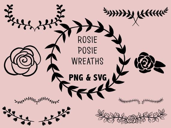 Photo of ROSIE POSIE WREATHS, handgezeichnete Kränze, Doodle Clipart, rustikale, gezeichnete Kränze, PNG, SVG, Vektor Kränze, Hochzeit, Lorbeeren, süße Kränze