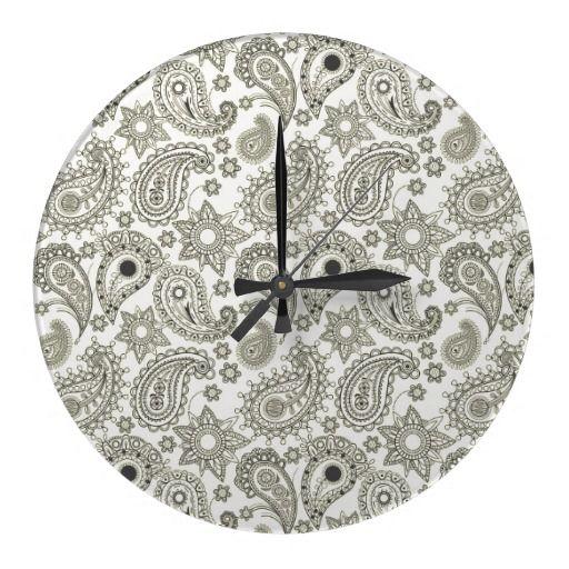 Black Paisley on White Clocks