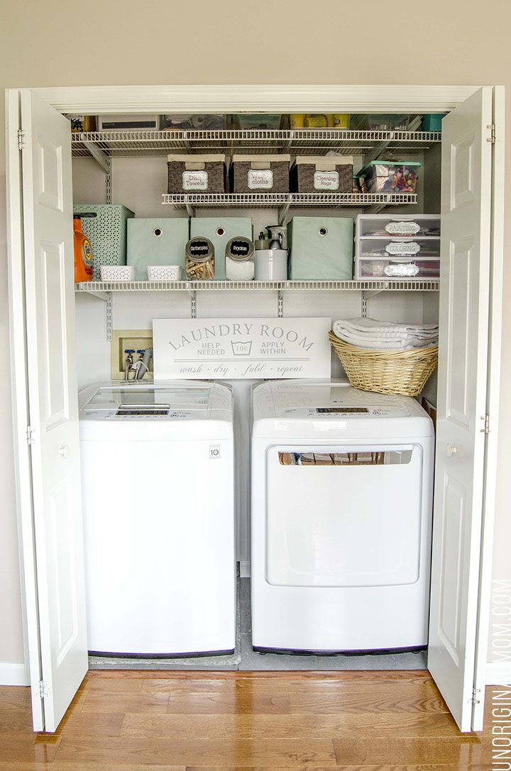 Organizing Ideas And Solutions For A Small Multi Purpose Laundry Closet Complete With Bins Labels Drawers Even Pretty Sign