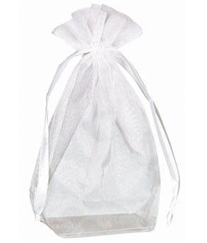 Organza Bags w/box bottom, White | 12 ct