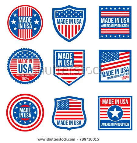 Stock Vector Vintage Made In The Usa Vector Badges American