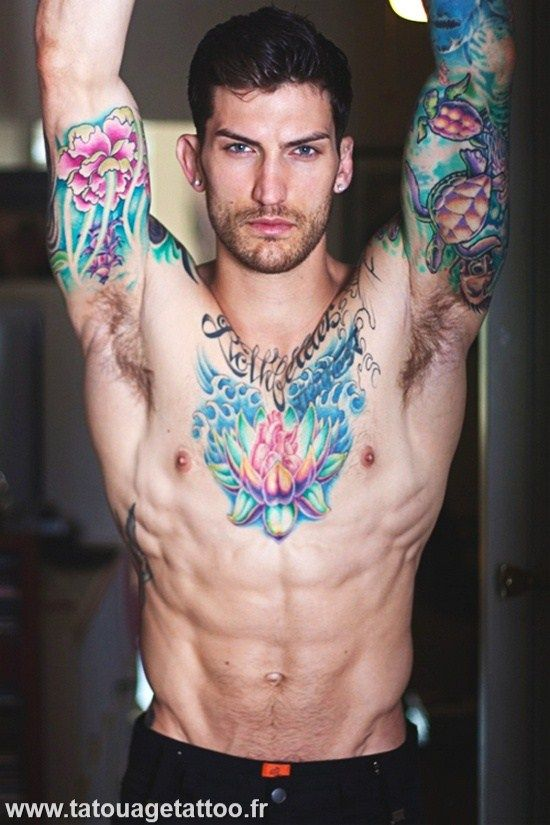 Fleur De Lotus Homme Flowers Tattoos Tattoos Sexy Tattooed Men