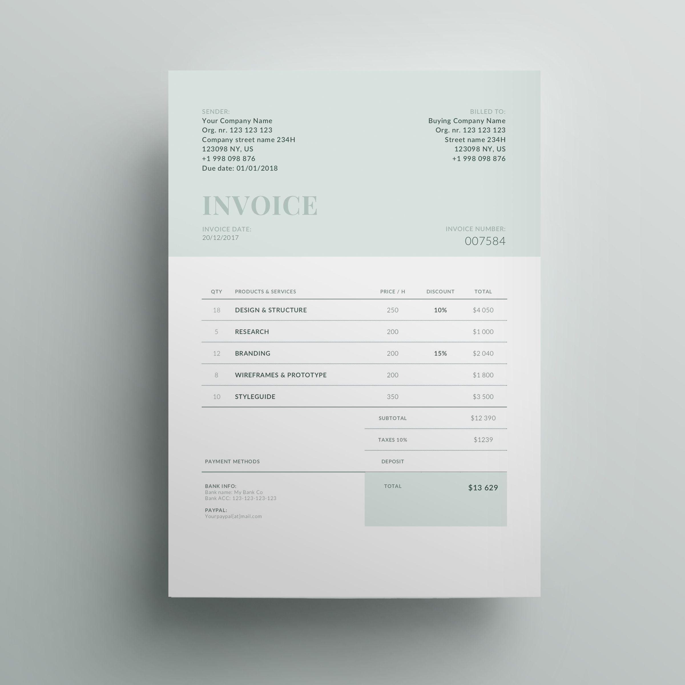 Invoice Template Business Invoice Receipt Template Etsy Photography Invoice Template Photography Invoice Invoice Design
