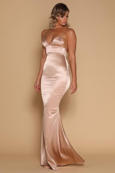 Luna Satin Maxi Dress - Nude  f90055406