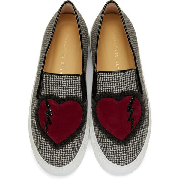 White and Black Broken Heart Alex Slip-On Sneakers Charlotte Olympia T0POi
