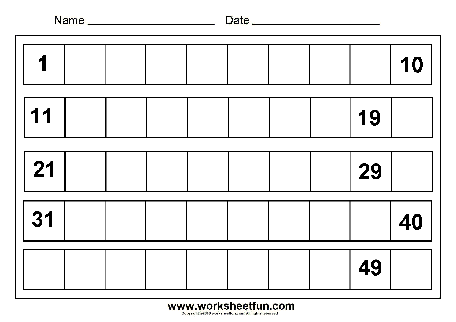 Missing Numbers - 1 To 50 - 8 Worksheets