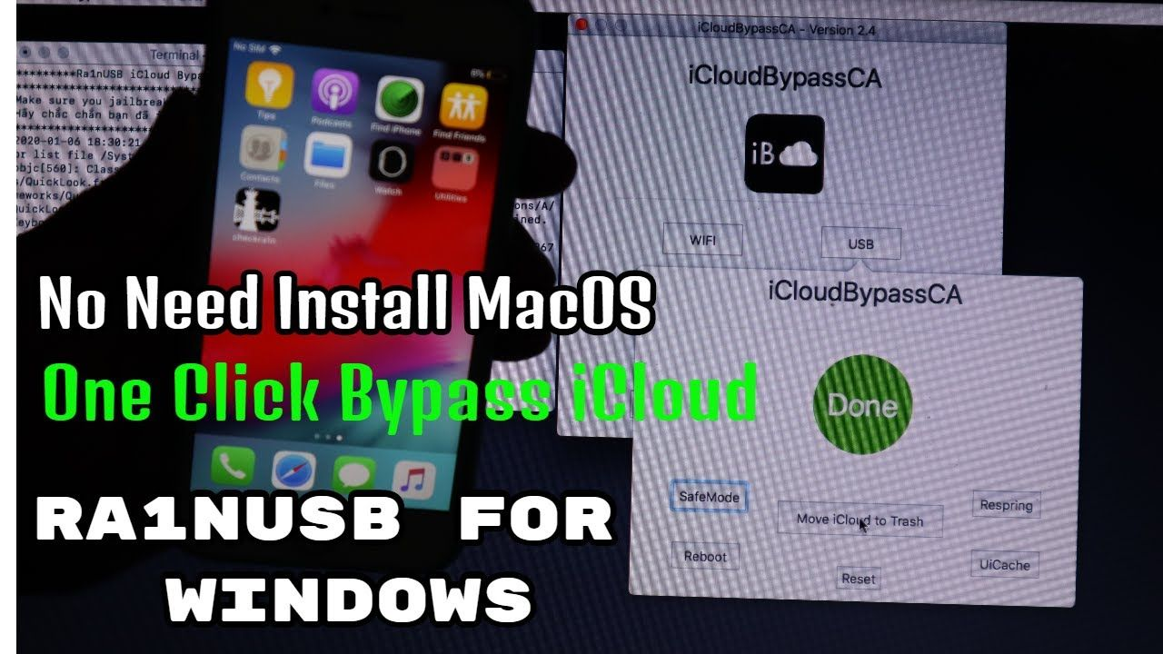 One Click Bypass iCloud iOS 1312 (Ra1nUSB Windows User