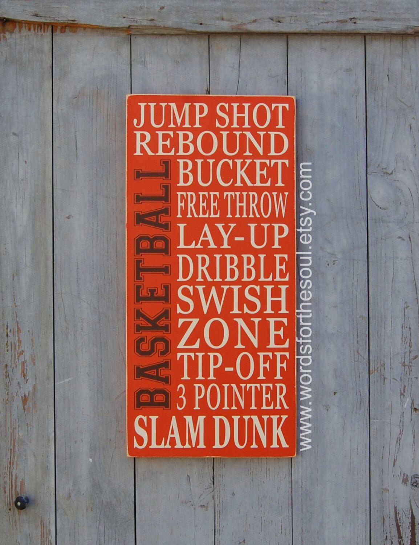 Basketball Typography Word Art Sports Wood Sign Nursery Wooden