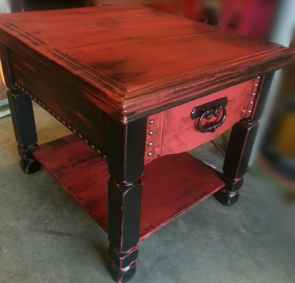 Rockstar Glam House Black Red Distressed End Table Red