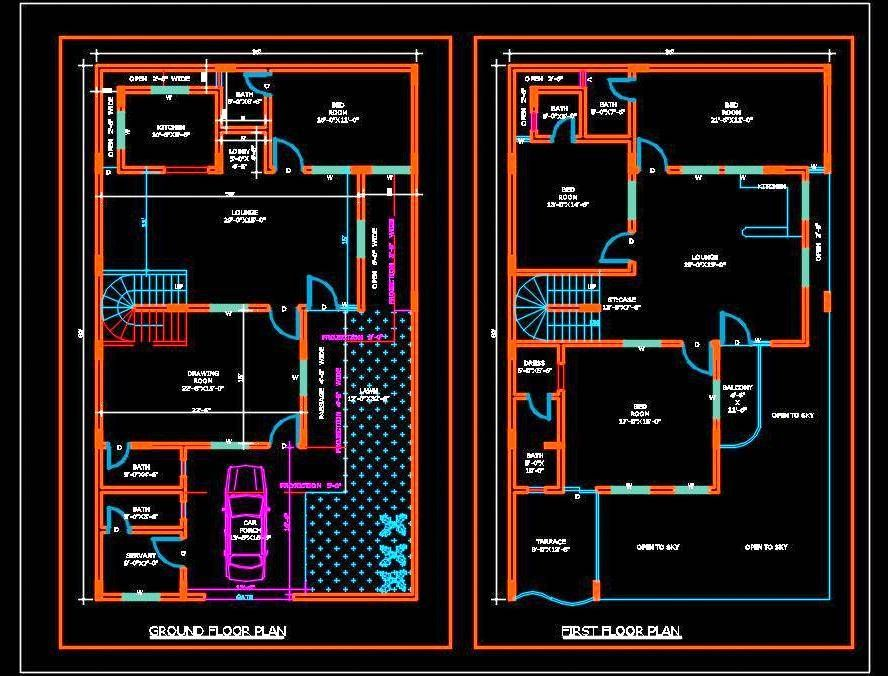 Duplex House Plans Free Download Dwg 35 X60 House Plans House Layout Plans Simple House Plans