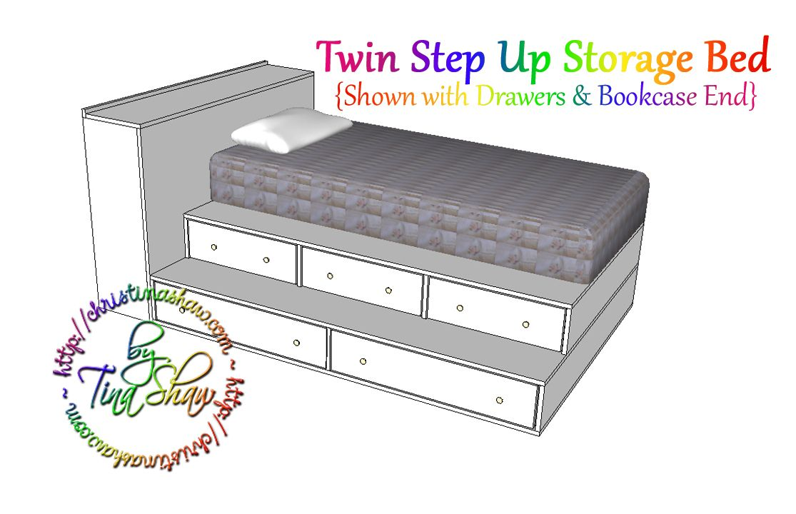 Ana White | Build a Twin Step Up Storage Bed | Free and Easy DIY ...