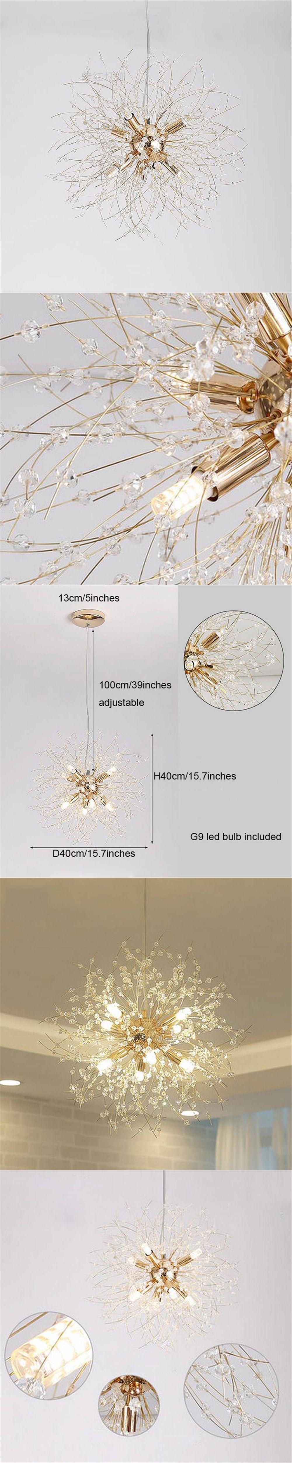 Modern K9 Crystal Chandelier G9 LED Dandelion Lights Lustre spider