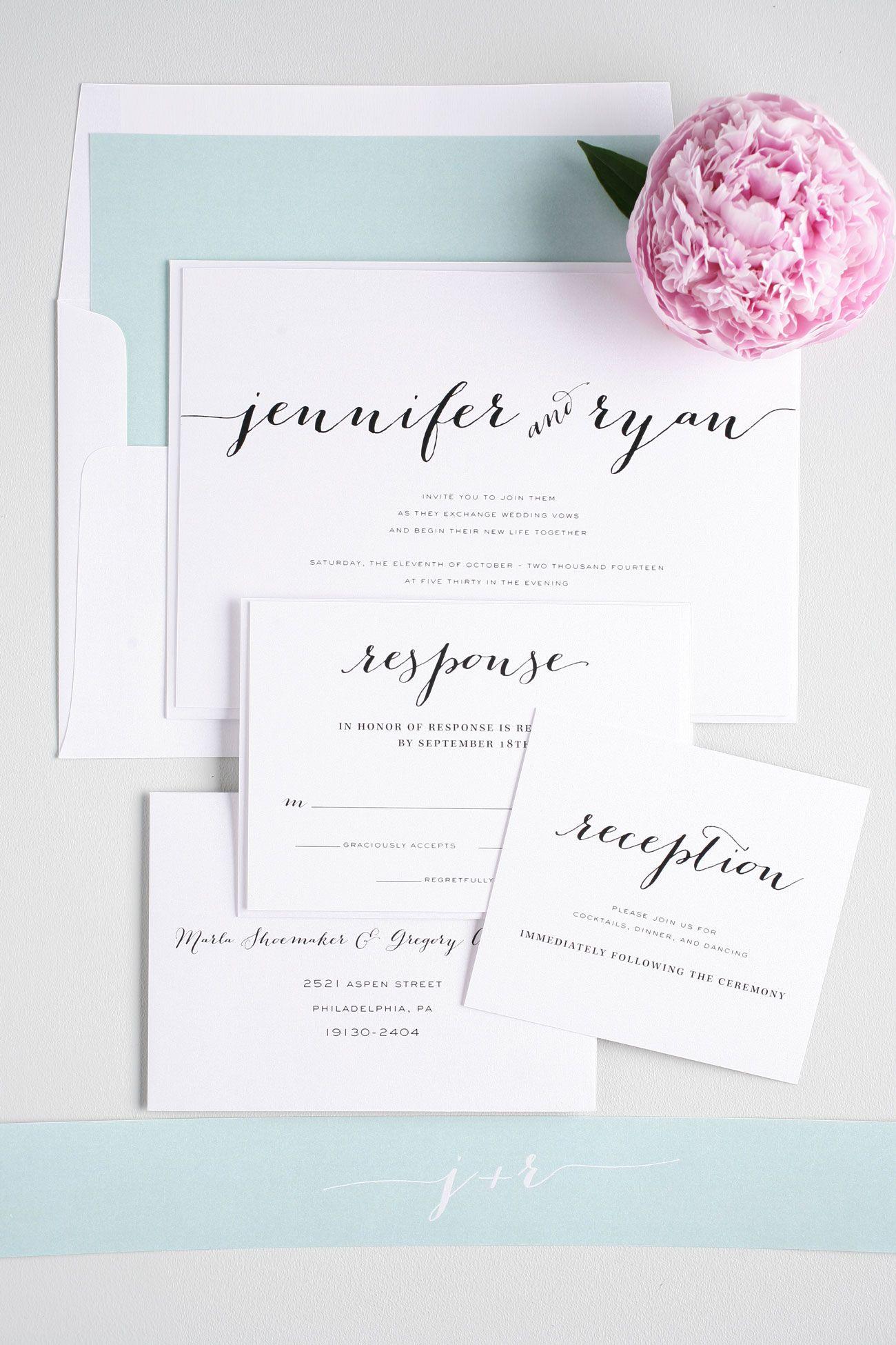 Rustic Script Wedding Invitations in Mint   Member Board: Stationery ...