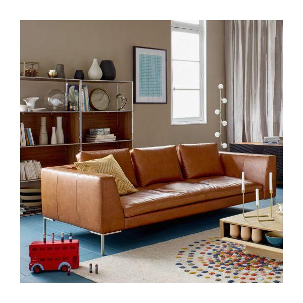 montino canap 3 places en cuir vintage cognac canap. Black Bedroom Furniture Sets. Home Design Ideas