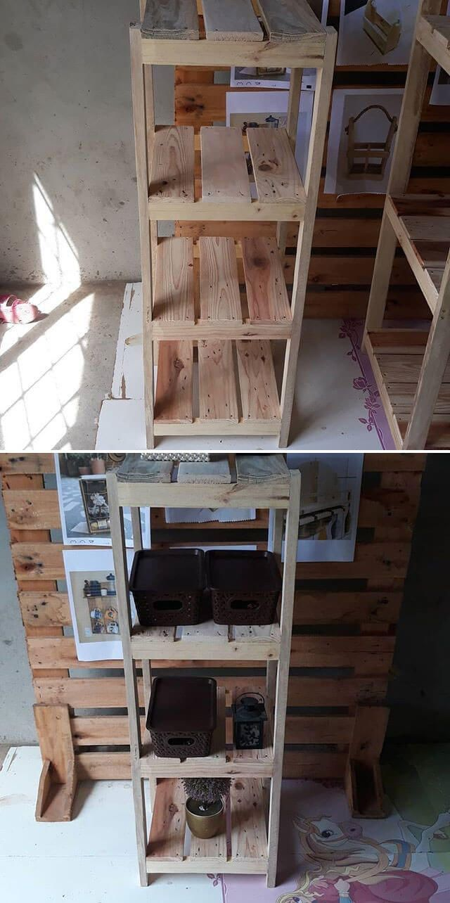 pallet stool with shelf ideas